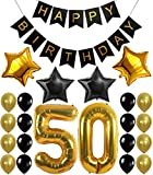 KATCHON Gold 50th Birthday Decorations Kit – Large, Pack of 26 | Number 5 and 0 Party Balloons Supplies | Black Happy Birthday Banner | Perfect for 50 Years Old Décor