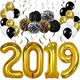 Gold 2019 Balloons Decorations Banner - Large, Pack of 49 | Gold Black Silver Hanging Party Swirls, Paper Pom Poms and Balloon | Graduations Party Supplies, New Years Eve Party Supplies 2019