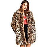 Women Warm Long Sleeve Parka Faux Fur Coat Overcoat Fluffy Top Jacket Leopard (US 4/6 = Asian M) Brown