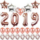 40inch Rose Gold 2019 Balloons New Year Party Balloons with Gold Confetti Balloons 18inch Rose Gold and Silver Star Balloons for New Year Party Grad Event Anniversary Party Decorations (Rose Gold)