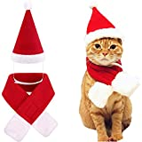 Santa Dog Cat with Scarf, Pet Christmas Hat with Scarf Christmas Costume Santa Puppy Kitten Cats Hat (Cats & Mini Dog, Santa Hat & Scarf)