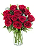 Delivery by Friday | Arabella Bouquets 12 Stems of Fresh Cut Red Roses in a Free Designer Glass Vase