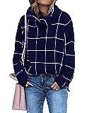 KIRUNDO 2021 Winter Women's Turtleneck Knit Sweater Long Sleeves Pullover Plaid Side Split Checked Outwear Loose Fit Tops (Large, Navy)