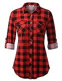 DJT Women's Button Down Plaid Shirt Roll up Long Sleeve Tops Medium Red Plaid