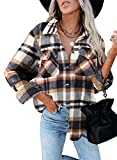 Dokotoo Classic Plaid Button Up Shirts for Women Roll Up Long Sleeve Flannel Tops Turn Down Collar Soft Checked Loose Boyfriends Baggy T-Shirt Outerwear for Ladies Office Jacket Blue L