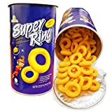 Oriental Puffed Snacks Cheese Flavored Super Rings -OR- Rota Shrimp Prawn Crackers-80g(2.82oz) (Cheese Rings)(Pack of 1)