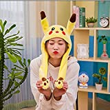 SHDZKJ Funny Plush Ear Moveable Jumping Hat, Cosplay Costumes Accessories Plush Toy Pikachu Hat 23.6in