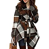 Chicwish Women's Turn Down Shawl Collar Open Front Long Sleeve Check Asymmetric Hemline Coat, Brown, XX-Small