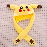Funny Plush Pikachu Hat, Ear Moveable Jumping Hat, Cosplay Costumes Accessories Plush Toy