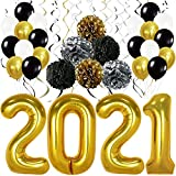 Gold 2021 Balloons for Graduation Decorations 2021 - Large, 40 Inch | Gold, Black, Silver Hanging Swirls, PomPoms for Class of 2021 Decorations | Graduation Balloons 2021 for College Grad Party Decor
