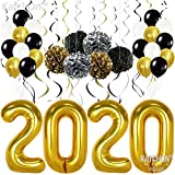 New Years Eve Party Supplies 2020 Balloons Gold – Pack of 49 | Gold Black Silver Hanging Party Swirls, Paper Pom Poms and Balloon | New Years Party Decorations | Graduations Party Supplies 2020