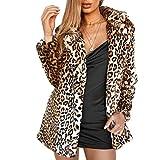 Women Warm Long Sleeve Parka Faux Fur Coat Overcoat Fluffy Top Jacket Leopard (Leopard,4)