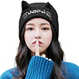 Cat Ears Beanie Pussy Cat Hat Fleece Beanie Warm Winter Hats for Women Wool Knitted Cat Cap Black